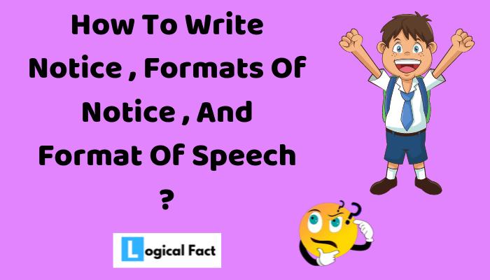 Format Of Notice , Format Of Speech