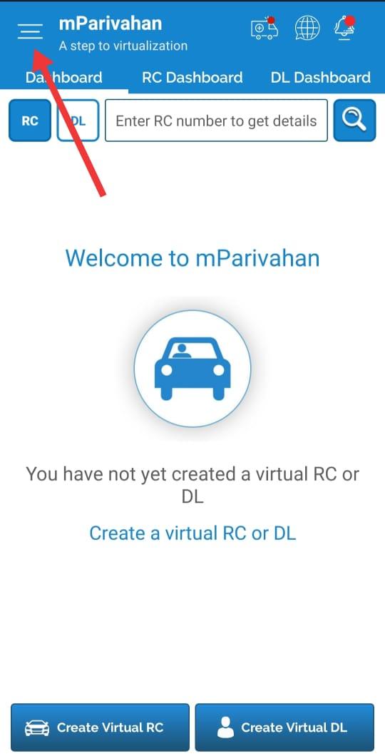 Mparivahan App Dashboard